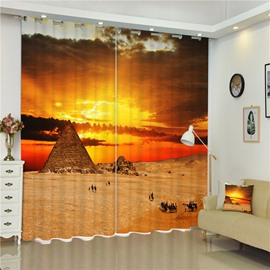 3D Pyramid and Sphinx Printed World Famous Heritage 2 Panels Bedroom Curtain