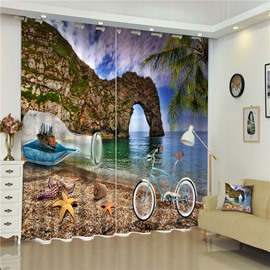 3D Starfishes Bicycle and Drift bottle with White Beach and Elephant Mountain Printed Shading Curtain