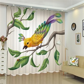 3D Lovely Bird and Bug on the Branches Printed Blackout and Decorative Bedroom Curtain