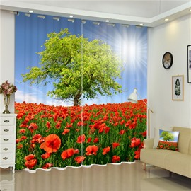 The Sea of Red Peonies and Green Trees Living Room and Bedroom Decorative and Shading Curtain