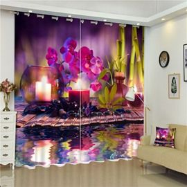 Romantic Purple Iris and Candle Light Charming Scenery Custom Decorative Window Curtain