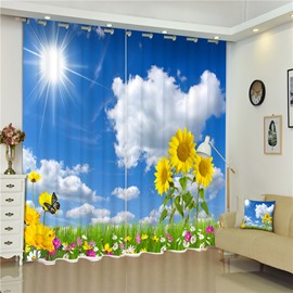 Blue Sky and White Clouds with Bright Sunflowers Living Room Custom 3D Curtain