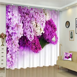 3D Flowers Collected Printed 2 Panels Decorative Custom Living Room Curtain