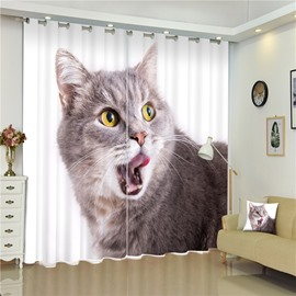 3D Lovely Cat Printed Creative and Vivid Pattern Decorative and Blackout Curtain