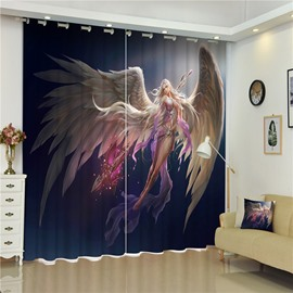 3D Animation Girl with Wings Printed Beautiful Angel Living Room and Bedroom Curtain