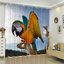 3D Lovely Fat Parrot on the Branch Printed Living Room and Bedroom Polyester Curtain