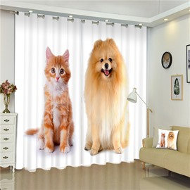 3D Standing Dog and Cat Printed Concise Style 2 Panels Living Room Decorative Window Custom Curtain