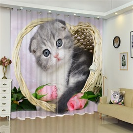 3D Lovely Cat with Pink Rose in Basket Printed 2 Panels Bedroom Window Curtain