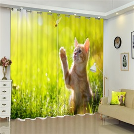 3D Tame and Lovely Cat Playing with Butterflies Printed Living Room and Bedroom Window Custom Curtain
