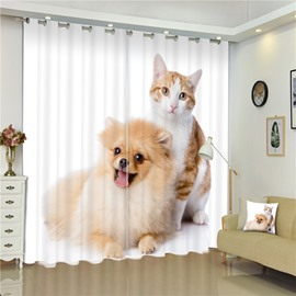 Lovely Cat and Cut Dog Living Room and Bedroom Decorative Custom 3D Curtain