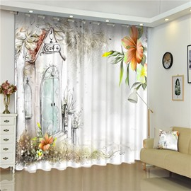 3D Sketch with Lily Flowers and Small Cafe House Printed Custom Window Curtain