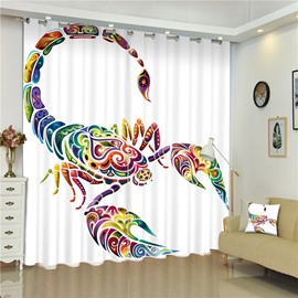 3D Creative and Colorful Crab Printed Decorative and Blackout Window Custom Curtain