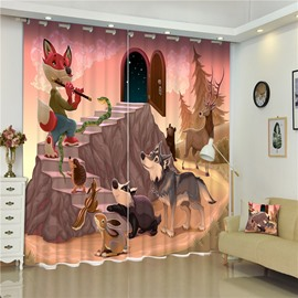 3D Cartoon Fairy Tale Style Wolf Fox and Rabbit Printed Animal Party Living Room and Children Custom Curtain