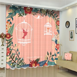 3D Lovely Birds in Cages Flowers Surrounded with Orange Background Printed Custom Curtain