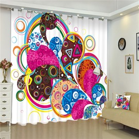 3D Colorful Irregular Shapes Printed Thick Polyester 2 Panels Living Room Curtain