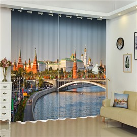 3D Grand and Famous Moscow Kremlin Printed 2 Pieces Decorative Custom Curtain