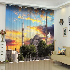 Magnificent Buildings with Golden Sunset Wonderful Scenery Decorative Custom Curtain