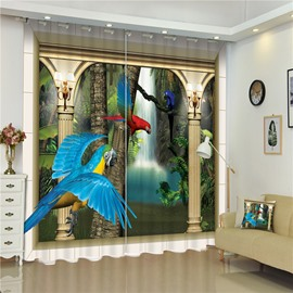 3D Bright Colored Parrots Flying in Dreamy Palace Printed Custom Window Curtain
