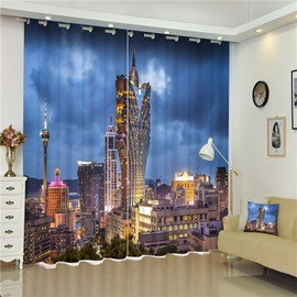 3D Creative Macau Casino Printed Bedroom and Living Room Polyester Curtain