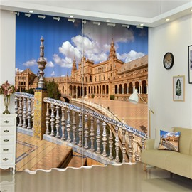 Glorious Plaza of Spain Printed Thick Polyester 2 Pieces Custom Shading Curtain