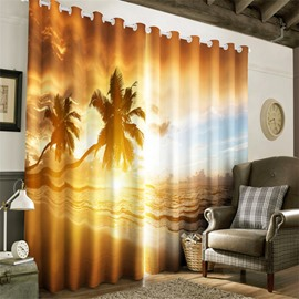 3D Palm Trees and Waves Printed 2 Pieces Decorative and Breathable Window Curtain