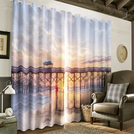 3D Grand Bridge on the Broad Sea Printed Living Room and Bedroom Decorative Curtain