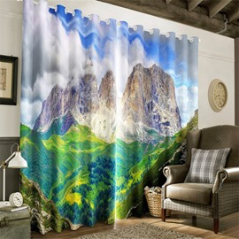 3D Huge and Rolling Hills Glamorous Scenery Printed Decorative and Blackout Curtain