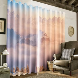 3D Top of Mountains Covered with White Snow Printed Majestic Scenery Grommet Top Curtain