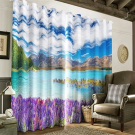 3D Purple Dandelions and Limpid Lake Printed Living Room and Bedroom Decorative Curtain