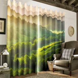 3D Lush and Rolling Hills Printed Natural Beauty 2 Pieces Grommet Top Window Curtain