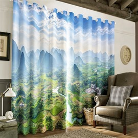 3D Flowing River Through Green and Broad Grassland Printed Top View Grommet Top Curtain