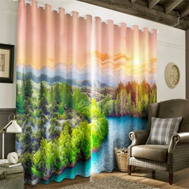 3D Flowing River and Broad Pine Forest Printed 2 Panels Living Room Blackout Curtain