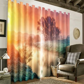 3D Small River and Wooden House Printed Autumn Scenery Decorative and Blackout Curtain