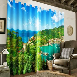 Beautiful Coastal City and Blue Sky with Hot Spring Printing Decorative and Blackout 3D Curtain