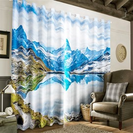 3D White Ice-Berg and Peaceful Lake Printed 2 Panels Living Room and Bedroom Curtain