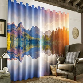 Rolling Mountains and Peaceful Lake Printing Living Room and Bedroom Window Drapes
