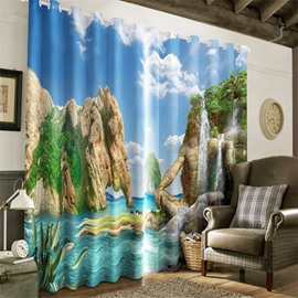 Elephant Mountains and Clean Seas with Blue Sky Printed Living Room Heat Insulation 3D Curtain