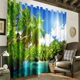 3D Lush Palm Trees and Peaceful Lake Printed 2 Panels Decorative and Heat Insulation Curtain