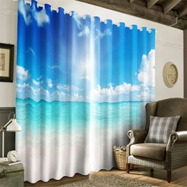 3D Clean Seas and Blue Sky Printed Fresh Style Beautiful Natural Style Heat Insulation Drapes