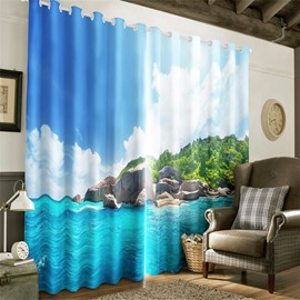 3D Navy Blue Seas and Green Trees Printed Beautiful Natural Beauty 2 Panels Decorative and Blackout
