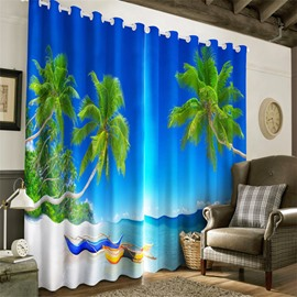 Beautiful Blue Sky and Clean Water with Green Trees Printed 2 Panels Decorative 3D Curtain