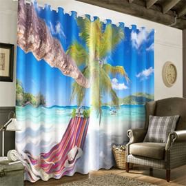 3D Declining Palm Trees and Purple Hammock in the Seaside Printed 2 Pieces Decorative Curtain