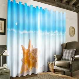 3D Lovely Starfish and Blue Sky Printed Decorative and Blackout Grommet Top Curtain