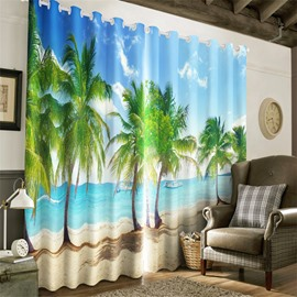 3D Beautiful and Charming Natural Beauty Green Trees and Blue Sea Printed Window Curtain