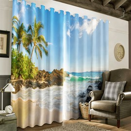 3D Surging Waves and Cool Beach Printed Natural Scene 2 Pieces Blackout Curtain