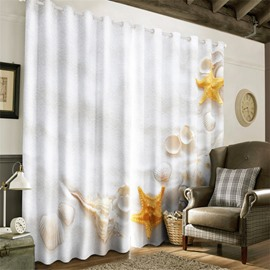 3D White Beach and Beautiful Starfishes with Shells Printed 2 Panels Blackout Curtain