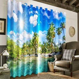 Clean Water and Blue Sky with White Clouds Printed Natural Beauty Grommet Top Curtain