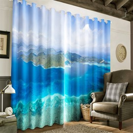 3D Blue Water and Mysterious Island Printed Natural Beauty Heat Insulation Grommet Top Curtain