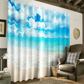 3D Flying Spray and Beach with Blue Sky Printed 2 Pieces Decorative and Blackout Curtain