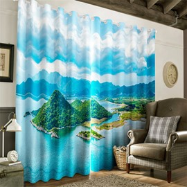 3D Lush Islands and Blue Sea Printed Decorative and Heat Insulation Window Drapes